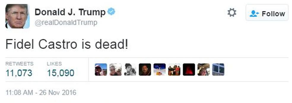 Donald Trump comenta morte de Fidel (Foto: Reprodução/Twitter)