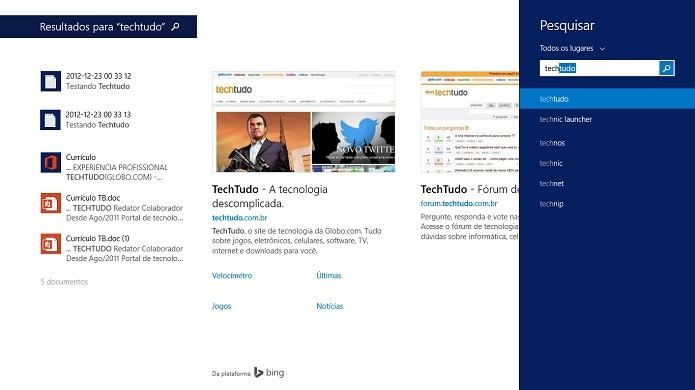 Resultados de PC e web aparecem juntos (Foto: Thiago Barros/Reprodução)