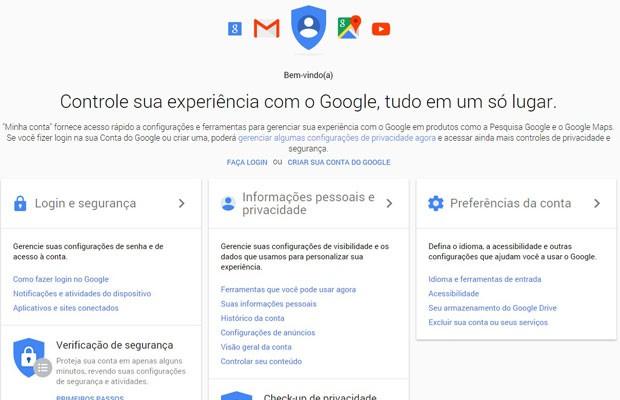 'My Account', portal de privacidade e segurança do Google, reúne histórico de uso dos serviços da empresa, como YouTube e Android. (Foto: Reprodução/MyAccount)