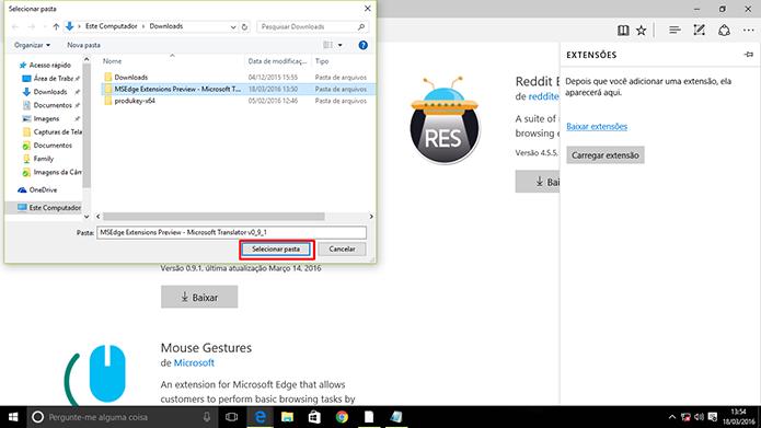 Usuário precisa encontrar pasta com extensão do Microsoft Edge (Foto: Reprodução/Elson de Souza)