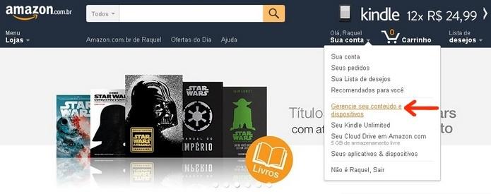 Opção de gerenciamento do conteúdo e dispositivos de uma conta Amazon (Foto: Reprodução/Raquel Freire)