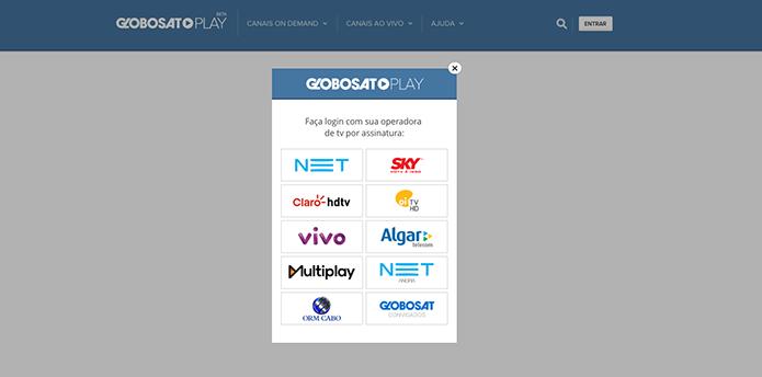 Logue com as informações da sua operadora no site do Globosat Play (Foto: Reprodução/Murilo Molina)