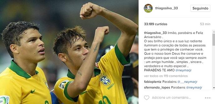 Neymar aniversário Thiago Silva