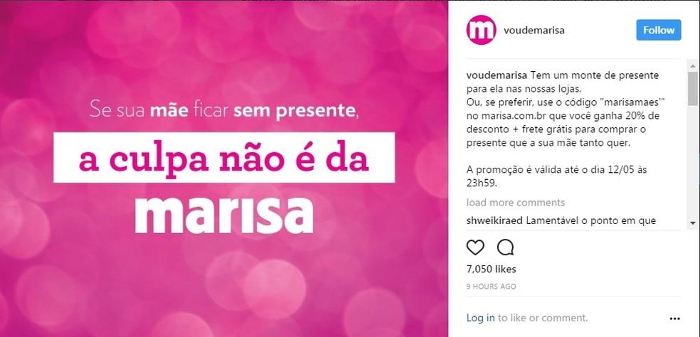 Publicação da Lojas Marisa na internet brinca com caso de dona Marisa Letícia (Foto: Reprodução/Lojas Marisa)