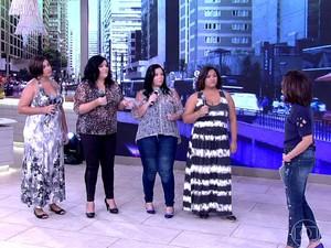 Grupo 'Mulheres Reais' no palco do Encontro (Foto: TV Globo)