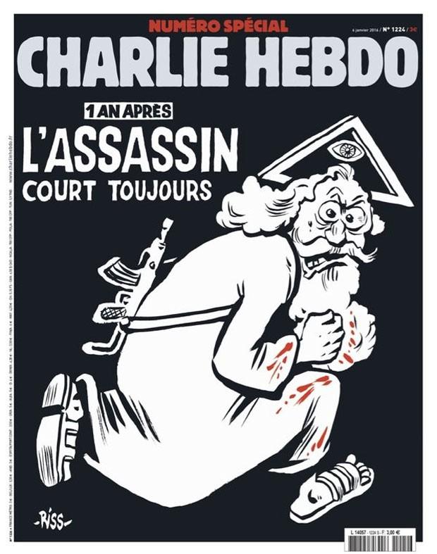 Charge de Riss que estampa edição especial de um ano do ataque ao 'Charlie Hebdo' (Foto: Reprodução/Twitter@JFGuyot)