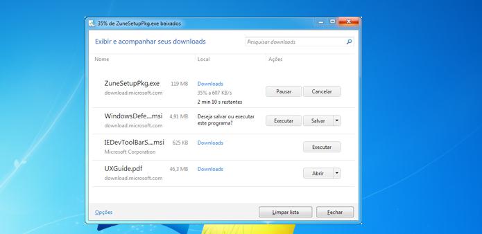Visualizando os downloads do Internet Explorer (Foto: Reprodução/Edivaldo Brito)