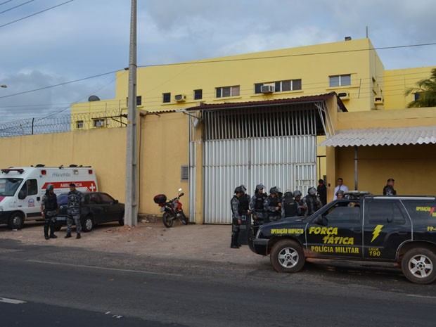 Batalhão de Choque em operação, em Pedrinhas (Foto: Manoel Costa/TV Mirante)