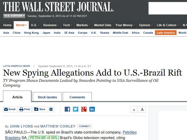 O 'Wall Street Journal' lembra que as revelações proporcionadas por Snowden abalaram as relações entre os EUA e o Brasil, chamado de 'aliado chave' na América Latina (Foto: Reprodução)