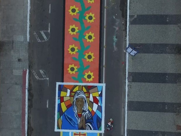 Imagem de drone mostra tapete em Vila Velha (Foto: Reprodução/ TV Gazeta)