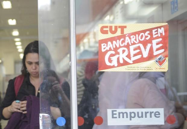 Bancos do centro do Rio de Janeiro estão fechados devido à greve dos bancários ; greve dos bancos ;  (Foto: Tânia Rêgo/Agência Brasil)