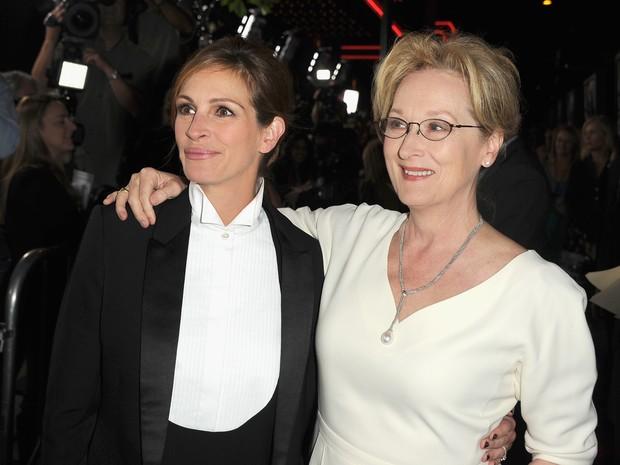 Julia Roberts e Meryl Streep em pré-estreia de filme em Los Angeles, nos Estados Unidos (Foto: Kevin Winter/ Getty Images/ AFP)