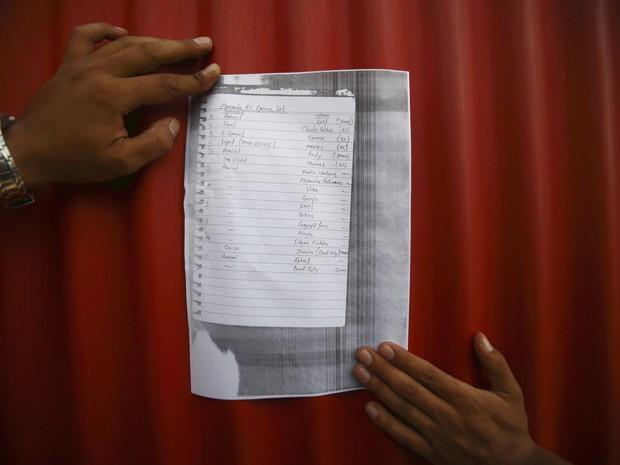 Lista com os nomes das vítimas da avalanche no monte Manaslu, em Kathmandu, capital do Nepal. (Foto: Reuters)