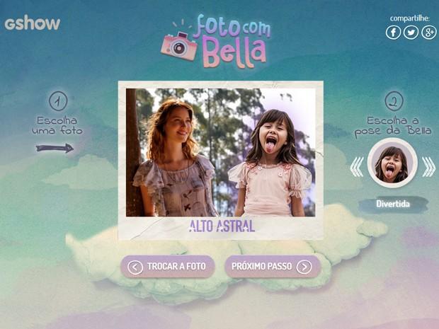 Aplicativo permite realizar montagens fotográficas com a Bella (Foto: Gshow)
