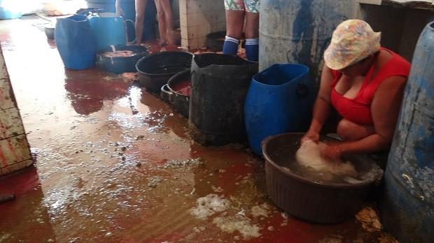 Funcionária limpa carne em bacia no chão (Foto: Natália Souza/G1 AL)