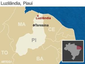 Mapa Luzilândia, Piauí (Foto: Arte/G1)