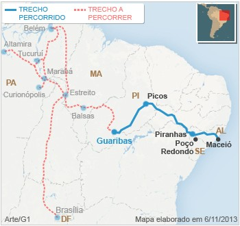 mapa viagem caravana 10nov