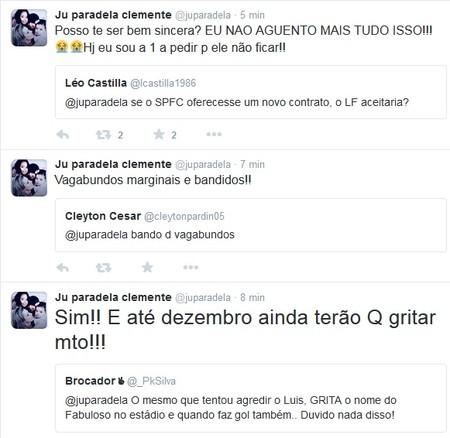 Esposa de Luis Fabiano diz que não quer que jogador renove com o São Paulo no Twitter (Foto: Reprodução)