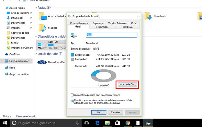 Usuário precisa limpar arquivos do sistema para excluir Windows.old (Foto: Reprodução/Elson de Souza)