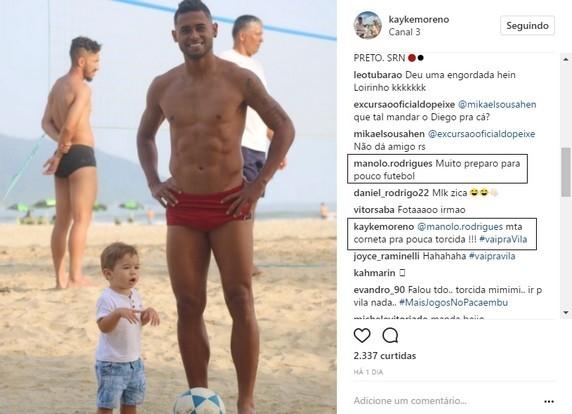 Kayke responde torcedor do Santos
