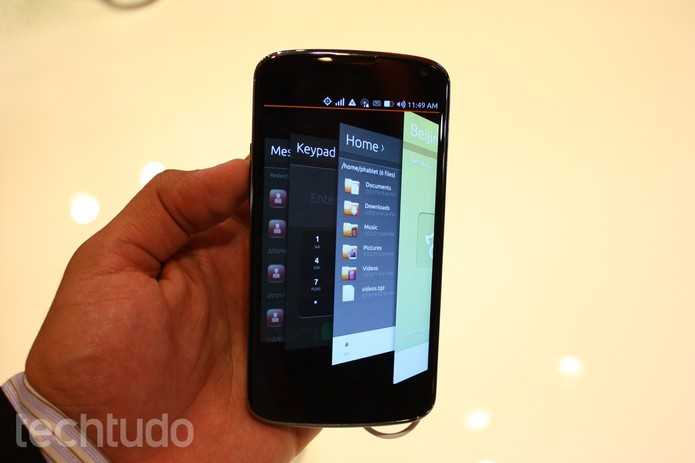 Carrossel de aplicativos no Ubuntu OS (Foto: Allan Melo/TechTudo)