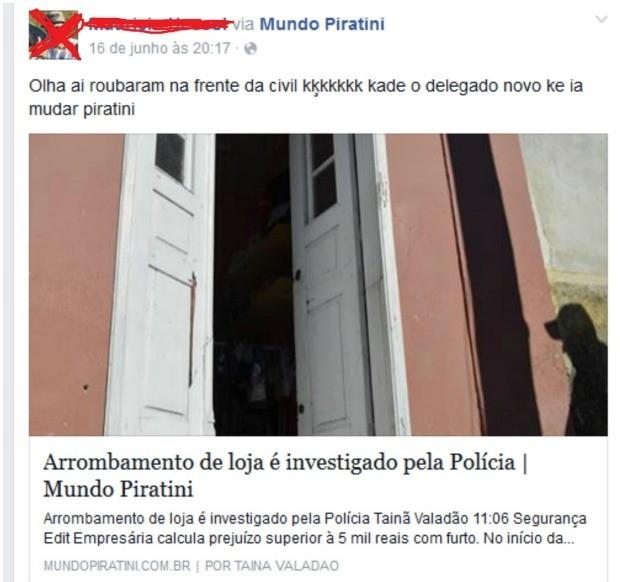 Jovem publicou comentário em rede social  (Foto: Reprodução/Facebook)