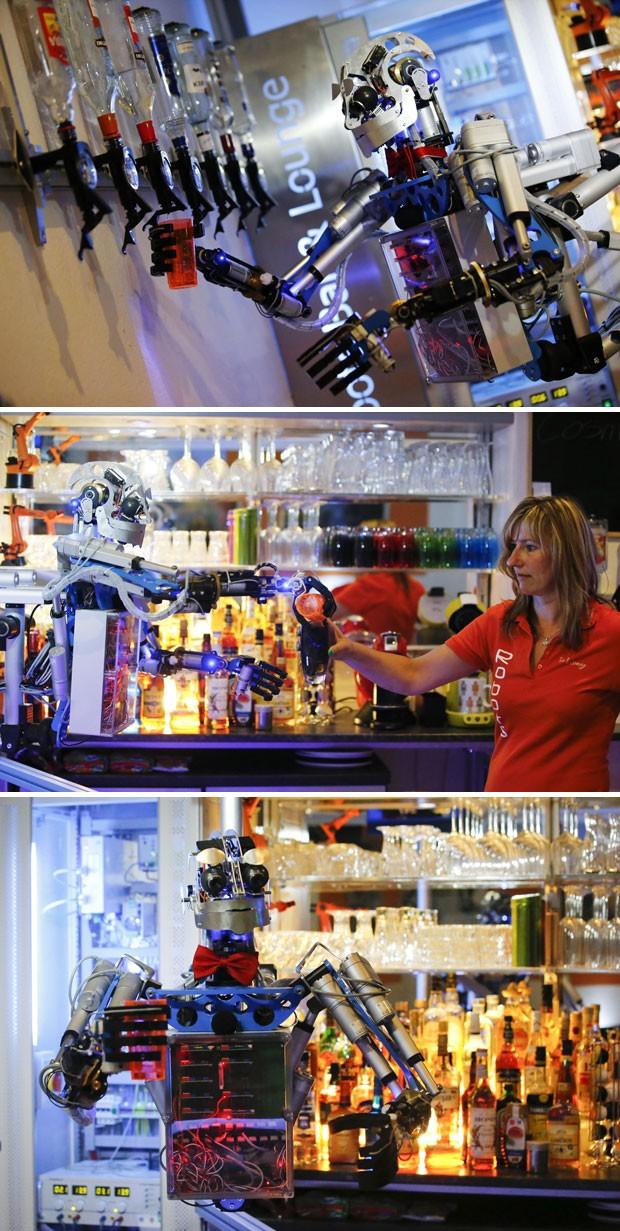 Robô Carl atende no bar em Ilmenau (Foto: Reuters/Fabrizio Bensch)