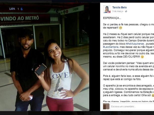 Josenildo se encontrou com Tarsila para devolver aparelho, na Quarta de Cinzas, em Salvador (Foto: Reprodução/ Facebook)