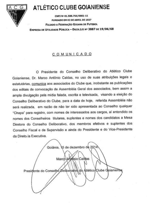 Comunicado - Atlético-GO (Foto: Divulgação)
