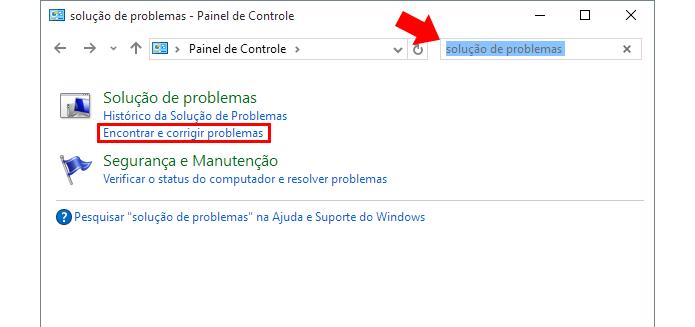 Busque por soluções de problemas no Painel de Controle (Foto: Reprodução/Paulo Alves)