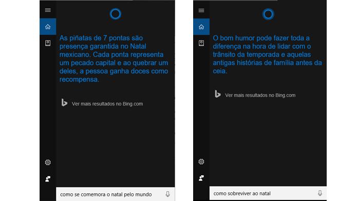 Cortana responde a perguntas sobre o Natal pelo mundo (Foto: Reprodução/Windows)