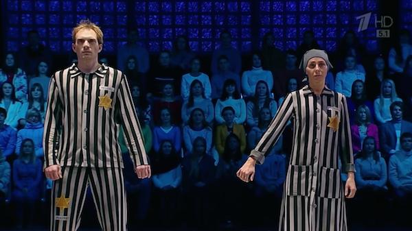 Os dois patinadores russos no programa 'Ice Age's' (Foto: Reprodução)