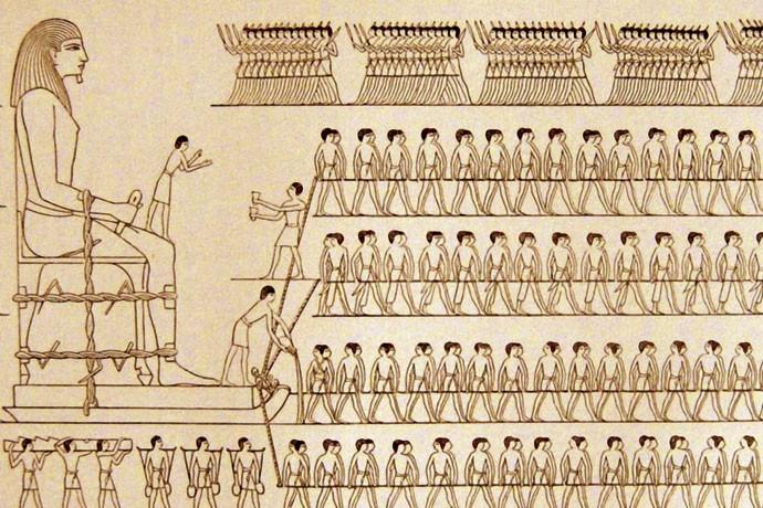 PINTADO: Arte em tumba já retratava a técnica de construção (Foto: Reprodução)