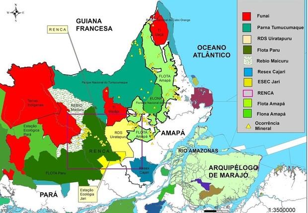Mapa mostra área da Reserva Nacional do Cobre e Associados (Renca) (Foto: Ministério de Minas e Energia)
