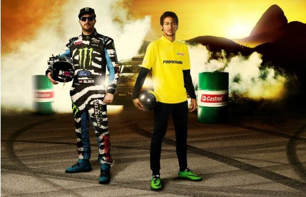 Ken Block e Neymar em ação publicitária (Foto: Divulgação)