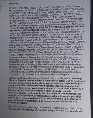 Proposta de TAC aos clubes grandes do Rio e à Ferj (Foto: Reprodução SporTV)