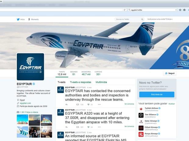 Alerta sobre desaparecimento de avião da EgyptAir no Twitter da companhia aérea (Foto: Reprodução / Twitter da EgyptAir)
