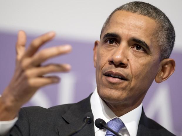 O presidente dos EUA, Barack Obama, durante cúpula do G20 em Ancara, na Turquina, nesta segunda-feira (16) (Foto: Saul Loeb/AFP )