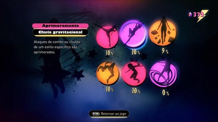 Gravity Rush 2: aprimoramentos são divididos em subcategorias (Foto: Reprodução/Victor Teixeira)