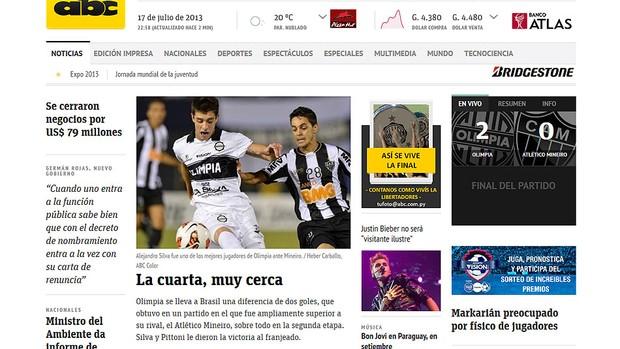 jornal ABC Paraguai decisão Libertadores Olimpia Atlético-MG (Foto: Reprodução)