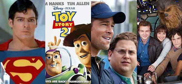 'Superman II - A Aventura Continua' (1980), 'Toy Story 2' (1999), 'O Homem Que Mudou o Jogo' (2011), 'Star Wars' (2018) (Foto: Divulgação)