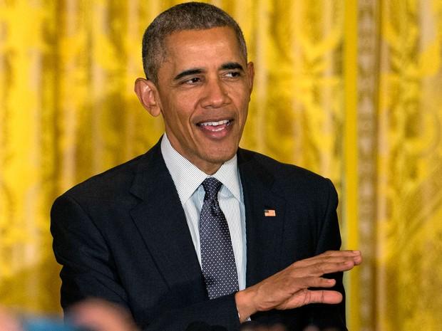 O presidente dos EUA, Barack Obama, fala durante comemoração do Cinco de Mayo na Casa Branca, em Washington, na quinta (5) (Foto: AP Photo/Jacquelyn Martin)