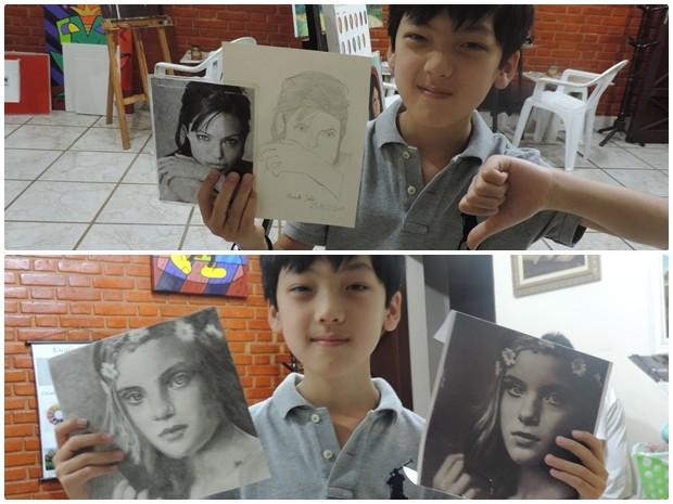 Ele compara o primeiro desenho em relação ao ultimo e celebra avanço (Foto: Caio Gomes Silveira/ G1)
