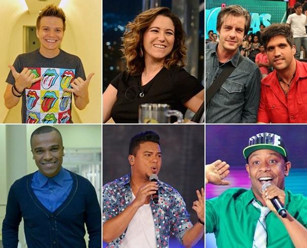 Michel Teló, Maria Rita, Victor & Leo, Alexandre Pires, Sorriso Maroto e Márcio Victor (Psirico) estão no Sai do Chão em 2014 (Foto: Globo)