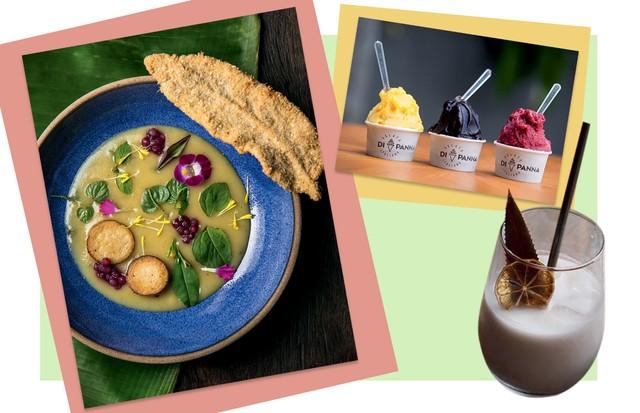 No alto, sorvetes Gelato di Panna; piña colada com leite de coco do Teva e tacacá com jambu e tucupi do .Org Bistrô (Foto: Patrick Demarchelier, Reprodução e Divulgação)