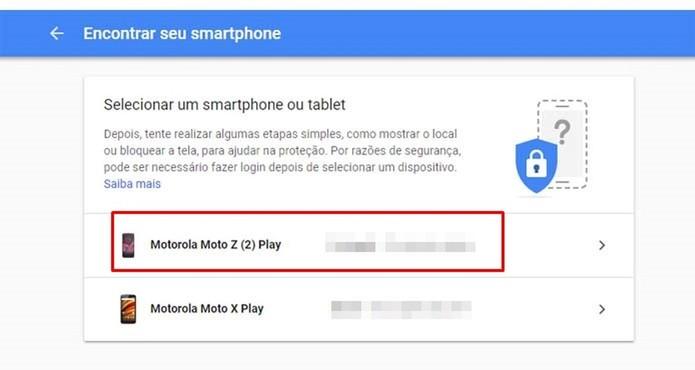 Clique sobre o dispositivo que deseja que o Google encontre (Foto: Reprodução/Taysa Coelho)