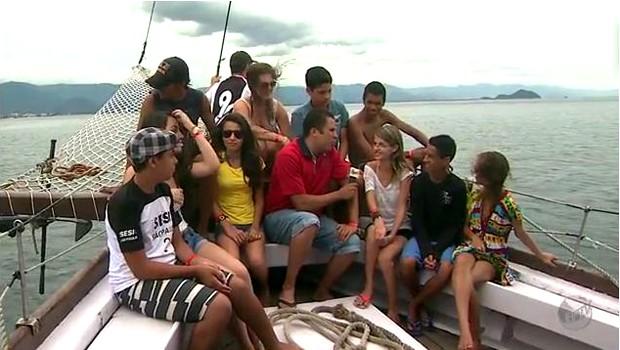 Vencedores do projeto  EPTV na Escola passaram uma semana na praia (Foto: Reprodução EPTV)