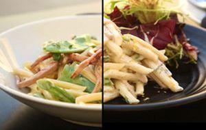 Penne parisiense em duas versões: clássica e como salada