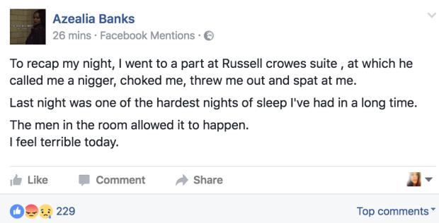 Azealia Banks acusa Russell Crowe de agressão e racismo (Foto: Reprodução/Facebook)