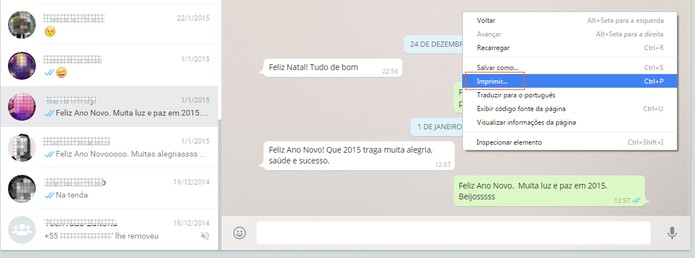 Acesse sua conversa do WhatsApp e envie a conversa como se fosse imprimir (Foto: Reprodução/Barbara Mannara)
